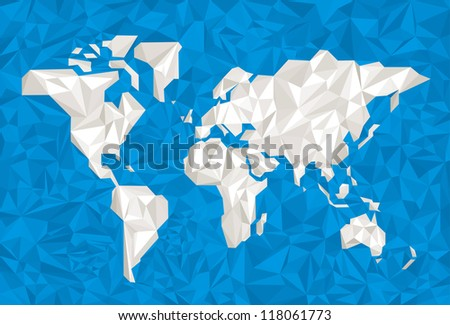 Crumpled paper world. Global colors for easy color changes.