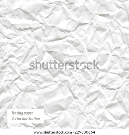 Crumpled white paper. Vector illustration. Trace - stock vector