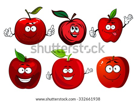 Crunchy juicy red apple fruits cartoon characters with green stems and leaves, for agriculture and food themes design - stock vector