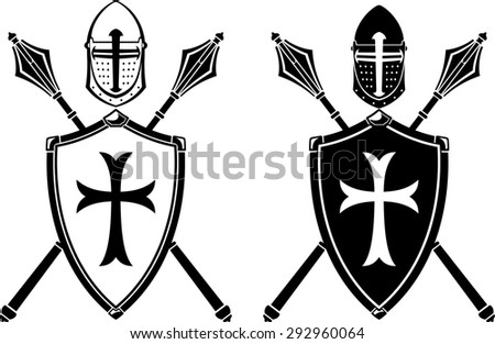 Crusader Crest Armor and Mace Weapon - stock vector
