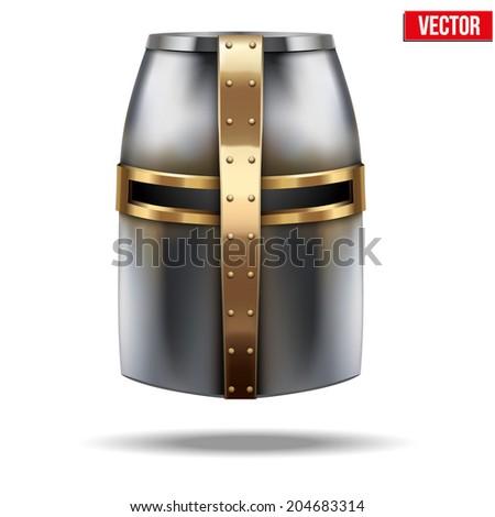 Crusader Metallic Knight's Helmet. Retro style. Vector Background - stock vector