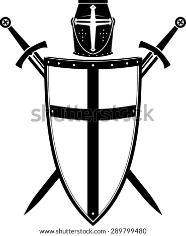 Crusader's Crest, Armor Helmet, Sword and Shield - stock vector