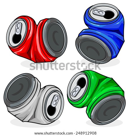 Crushed tin cans. Crushed tin cans in four colors, red, blue, silver and green,  on white background, isolated  - stock vector