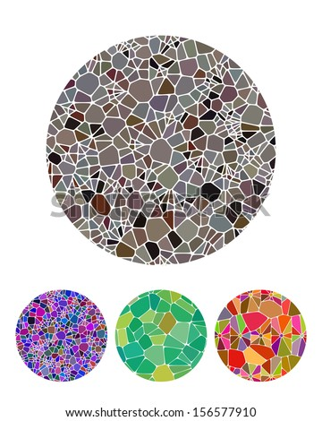 Crushing abstract circle biology pattern. Micro round logo element. Colorful precious stone icons set. You can use in fine jewelry, textiles, posters background, biotechnology and medical industries - stock vector