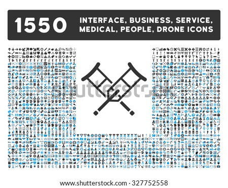 Crutches and other web interface, business tools, people poses, medical service vector icons. Style is flat symbols, bicolored, rounded angles, white background. - stock vector