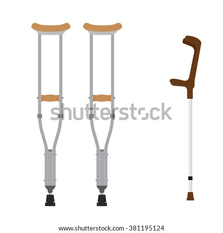 Crutches icon. Vector illustration of pair wooden crutches and medical walking sticks for rehabilitation of broken leg. - stock vector