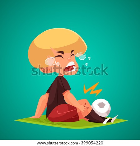 Crying Boy holding his injured knee. Concept Vector Illustration.  Injured Football Player - stock vector
