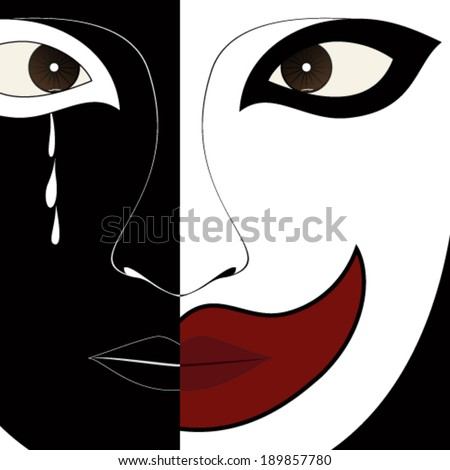 Crying clown - vector illustration. - stock vector