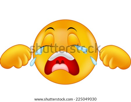 Crying emoticon - stock vector