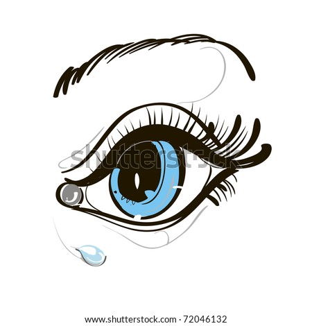 Blue Eye Crying Drawing a Blue Eye Stock Vector