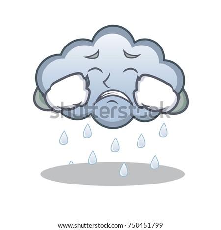 crying rain cloud character cartoon stock vector 758451799 rh shutterstock com cartoon rain cloud over head cartoon rain cloud pictures