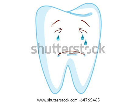 Crying Tooth Cartoon Character Illustration in Vector - stock vector