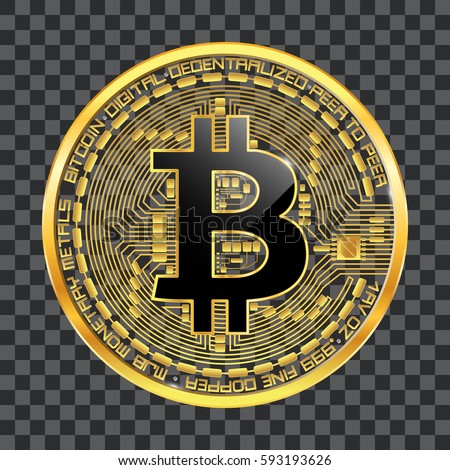 Crypto Currency Golden Coin With Black Lackered Bitcoin Symbol On Obverse Isolated Transparent Background