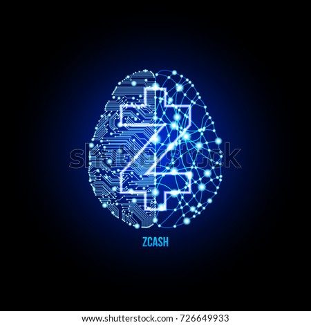 Crypto currency zcash on brain background on black background. Vector illustration. Use for logos, print products, page and web decor or other design.
