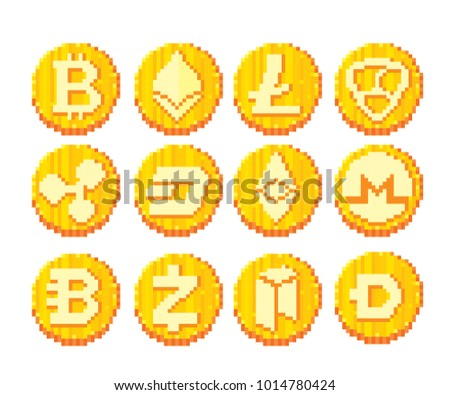8 Bit Stock Images Royalty Free Vectors Shutterstock Cryptocurrency Icon