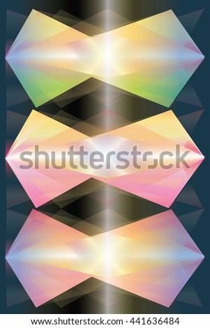 Crystal abstract vector shapes as glowing abstract background - polygonal transparent reflects and vivid colors transition on dark. Abstract diamonds and pearls idea digital painting. - stock vector