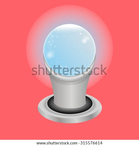 Crystal ball on a silver stand, on pink background