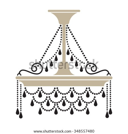Crystal Chandelier Silhouette Isolated On White Background