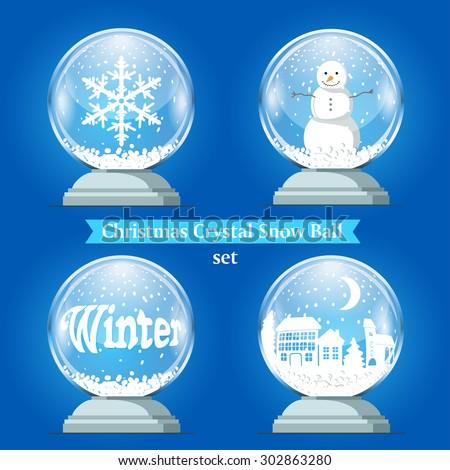 Crystal Christmas ball on a blue background. Vector illustration. - stock vector