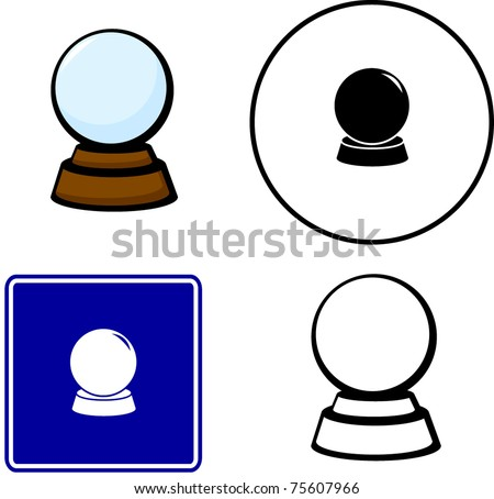 crystal fortune ball - stock vector