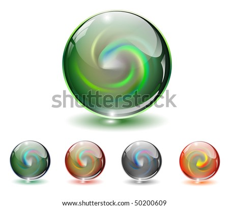 Crystal, glass sphere with abstract shape inside, vector illustration. - stock vector