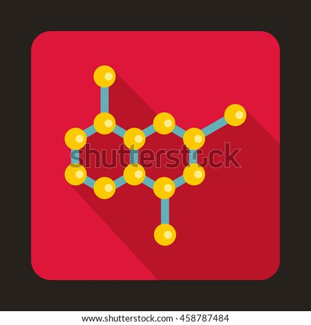 Crystal lattice icon in flat style on a crimson background - stock vector