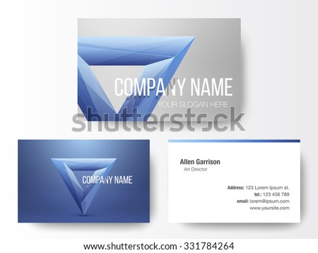Crystal logo design on business cards template. Abstract polygon triangle. Colorful icon.  - stock vector