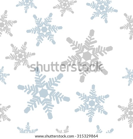 Crystal of snow background.Winter image. Seamless pattern.Vector. - stock vector