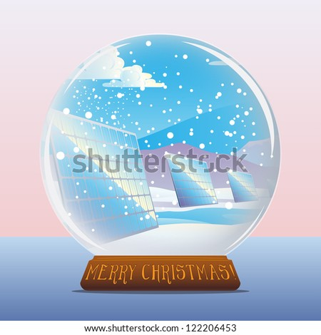 Crystal snow ball with solar panels landscape vector illustration