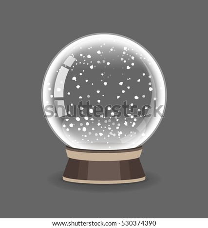Crystal Sphere. Snowglobe vector illustration. Empty snow globe. Transparent glass ball.