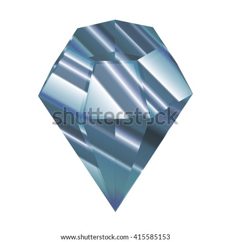 Crystal vector illustration. Blue Faceted jewel. a beautiful diamond.