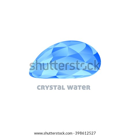 Crystal Water. Template of logo design with blue water drop textured by triangles. Vector graphic logotype