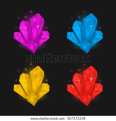 Crystals and diamonds resources set for game design - stock vector