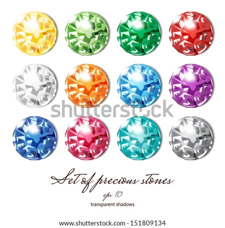 Crystals icons set of 12 colors - precious jewelry stones collection isolated on white - stock vector