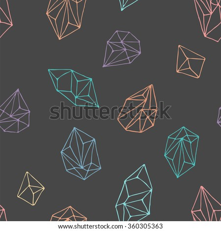 Crystals - seamless hand drawn pattern