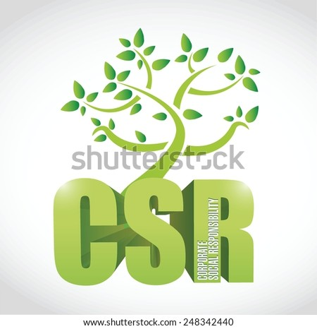 csr corporate social responsibility tree illustration design over a white background - stock vector