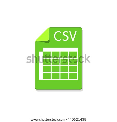 CSV type file icon, labeled csv paper page shape document with table symbol, vector illustration, isolated on white background - stock vector