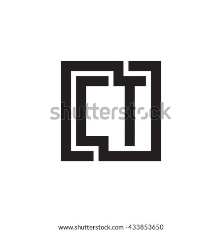 CT initial letters looping linked square monogram logo
