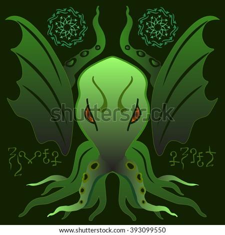 Cthulhu. Vector horror object. T-shirt design. Halloween sticker. - stock vector