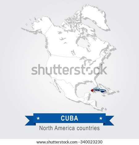 Cuba. All the countries of North America. Flag version.