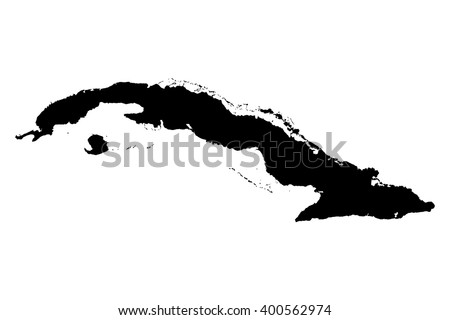 Cuba black map on white background vector - stock vector