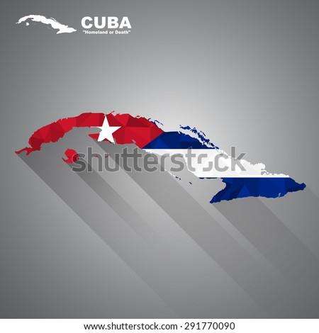 Cuba flag overlay on Cuba map with polygonal and long tail shadow style (EPS10 art vector) - stock vector