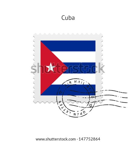 Cuba Flag Postage Stamp on white background. Vector illustration. - stock vector