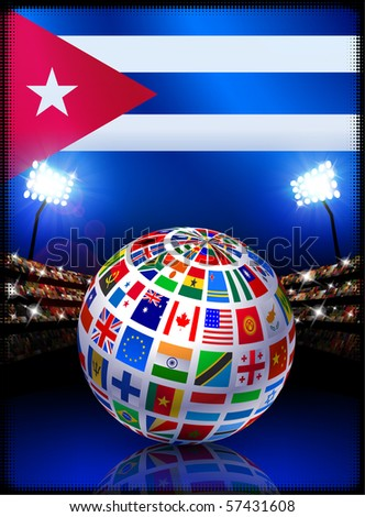 Cuba Flag with Globe on Stadium Background Original Illustration