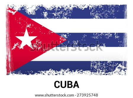 Cuba grunge flag isolated vector in official colors and Proportion Correctly. country's name label in bottom - stock vector