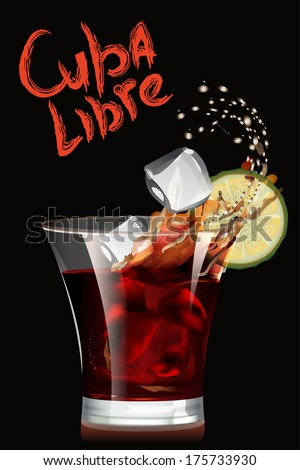 Cuba Libre cocktail. Vector illustration. - stock vector