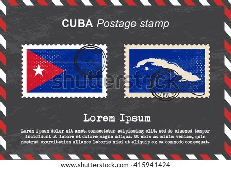 Cuba postage stamp, postage stamp, vintage stamp, air mail envelope. - stock vector