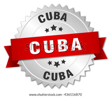 Cuba  round silver badge with red ribbon