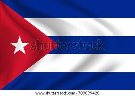 Cuban Flag Background With Cloth Texture. Cuban Flag Vector Illustration.