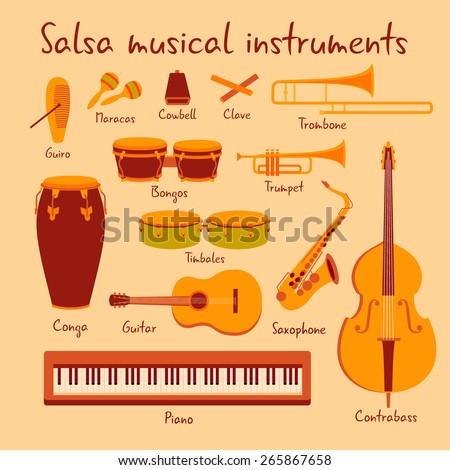 Cuban salsa mambo musical instruments extended vector set with piano and saxophone - stock vector